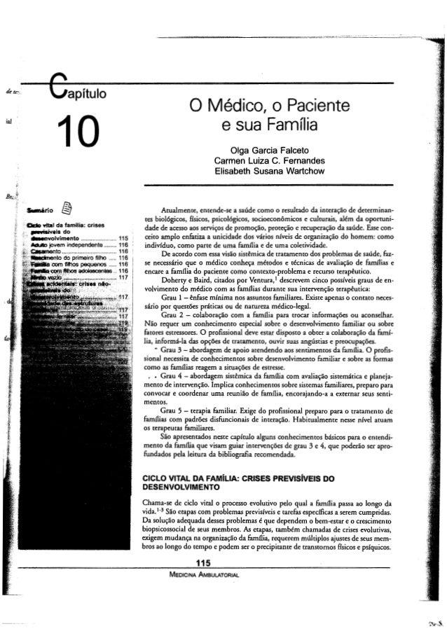 apitulo O Médico o Paciente     r' e sua Familia Olga Garcia Falceto Carmen Luiza C.  Fernandes Elisabeth Susana Wartchow ...