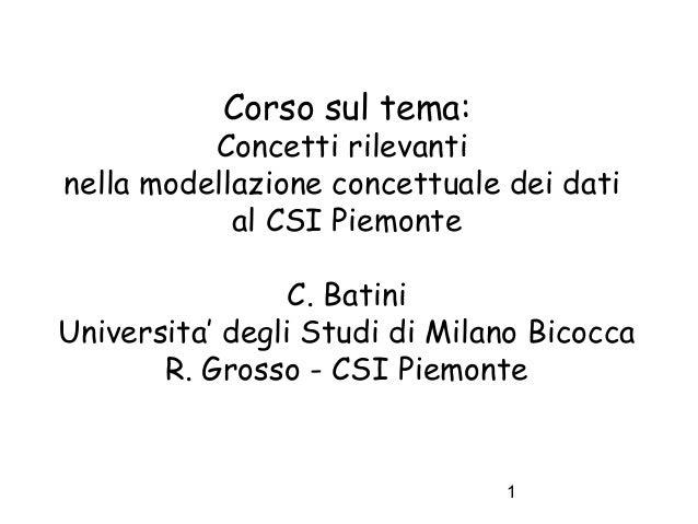 Corso sul tema:  Concetti rilevanti nella modellazione concettuale dei dati al CSI Piemonte C. Batini Universita' degli St...
