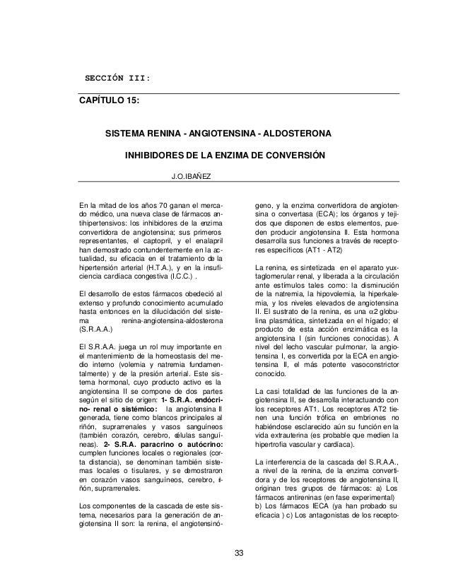 SECCIÓN III:CAPÍTULO 15:        SISTEMA RENINA - ANGIOTENSINA - ALDOSTERONA               INHIBIDORES DE LA ENZIMA DE CONV...