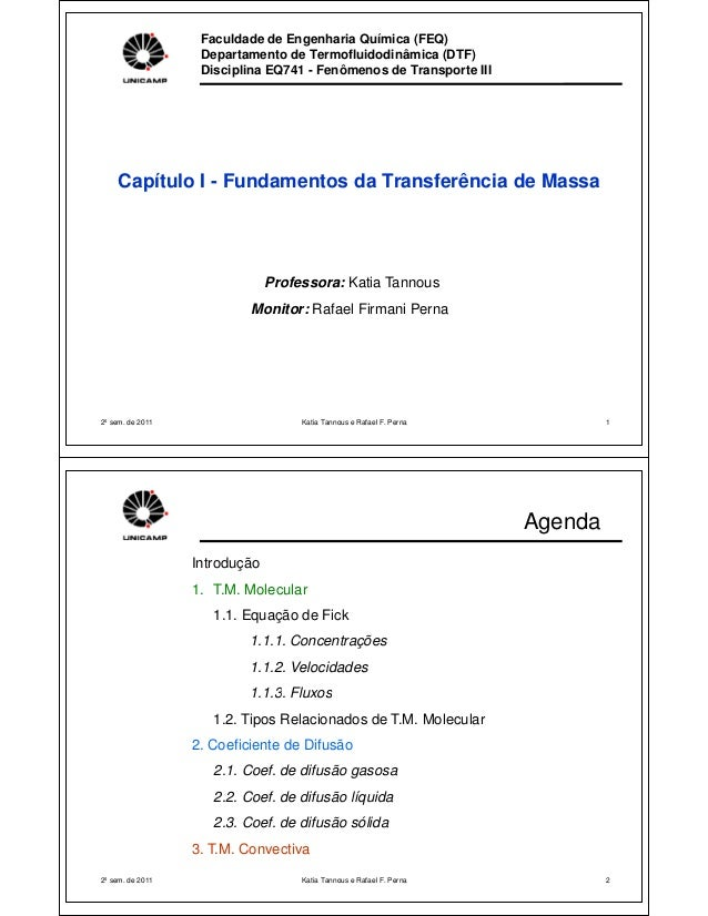 Faculdade de Engenharia Química (FEQ) Departamento de Termofluidodinâmica (DTF) Disciplina EQ741 - Fenômenos de Transporte...