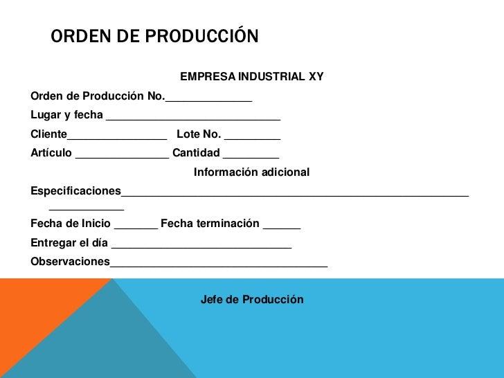 órdenes de producción