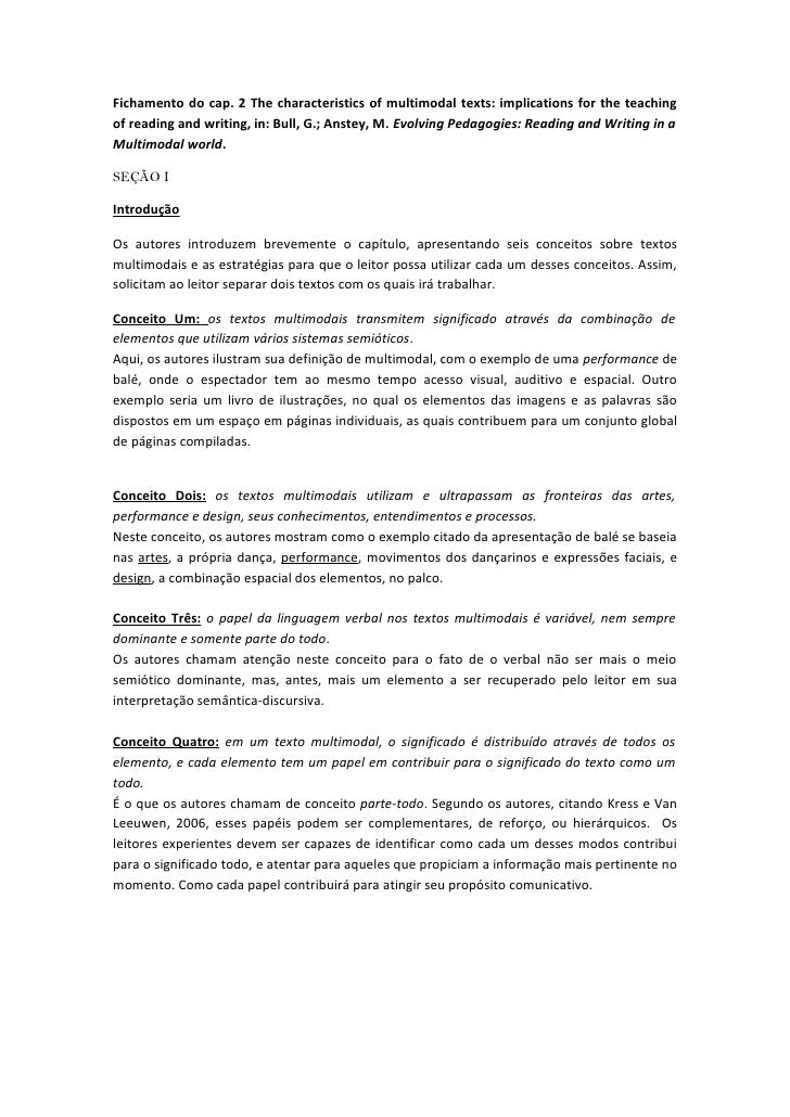 Fichamento do cap. 2 The characteristics of multimodal texts: implications for the teachingof reading and writing, in: Bul...