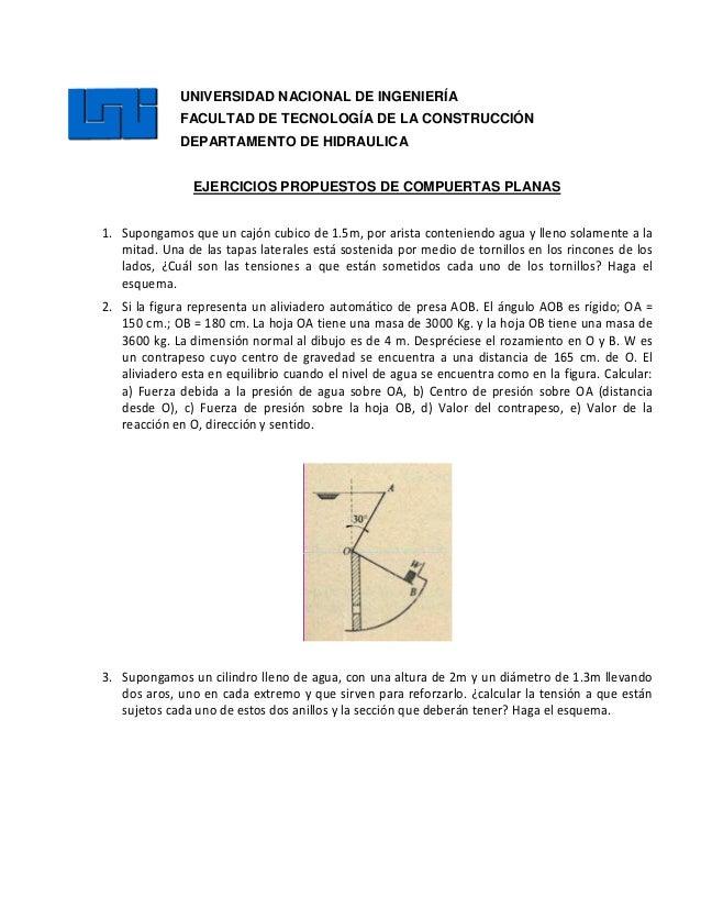 UNIVERSIDAD NACIONAL DE INGENIERÍA FACULTAD DE TECNOLOGÍA DE LA CONSTRUCCIÓN DEPARTAMENTO DE HIDRAULICA EJERCICIOS PROPUES...