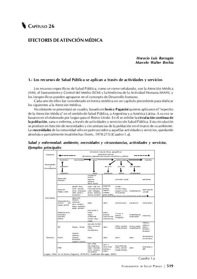 FUNDAMENTOS DE SALUD PÚBLICA | 519 CAPÍTULO 26 EFECTORES DE ATENCIÓN MÉDICA Horacio Luis Barragán Marcelo Walter Bechia 1....
