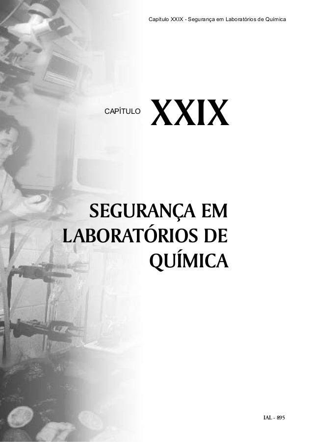 IAL - 895 SEGURANÇA EM LABORATÓRIOS DE QUÍMICA XXIXCAPÍTULO Capítulo XXIX - Segurança em Laboratórios de Química
