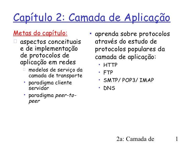 Capítulo 2: Camada de AplicaçãoMetas do capítulo:              aprenda sobre protocolos aspectos conceituais           a...