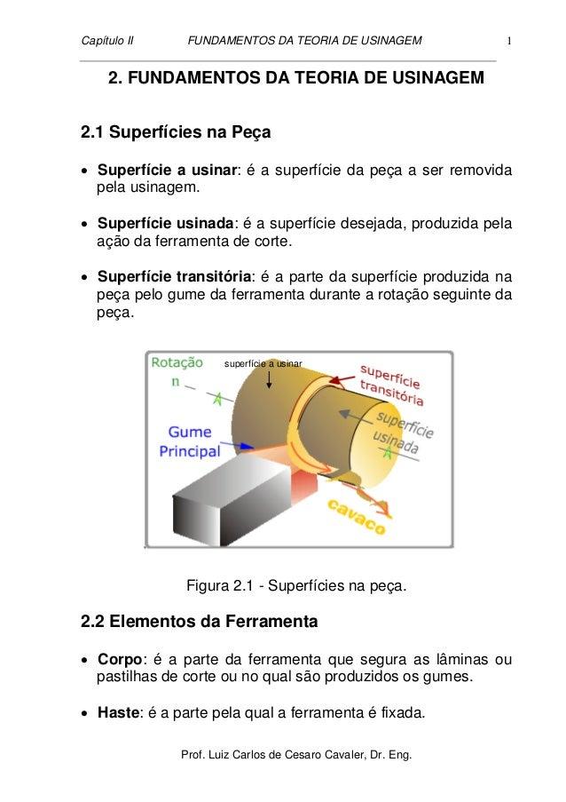 Capítulo II FUNDAMENTOS DA TEORIA DE USINAGEM Prof. Luiz Carlos de Cesaro Cavaler, Dr. Eng. 1 2. FUNDAMENTOS DA TEORIA DE ...