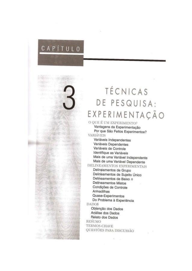Técnicas em Pesquisa: Experimentação (Livro Psicologia Experimental)