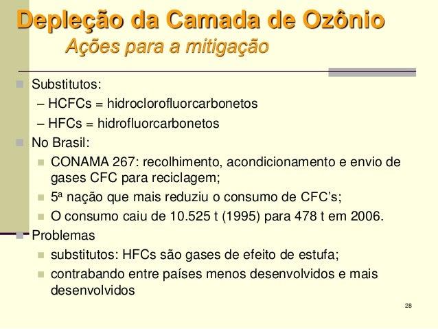 28 Depleção da Camada de Ozônio Ações para a mitigação  Substitutos: – HCFCs = hidroclorofluorcarbonetos – HFCs = hidrofl...