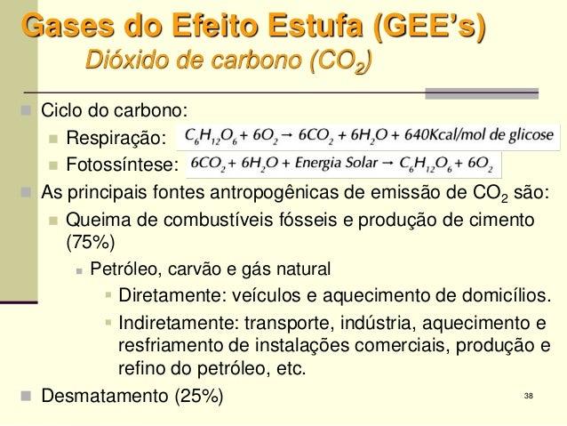 38 Gases do Efeito Estufa (GEE's) Dióxido de carbono (CO2)  Ciclo do carbono:  Respiração:  Fotossíntese:  As principa...
