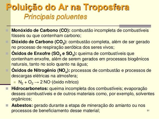 51 Poluição do Ar na Troposfera Principais poluentes  Monóxido de Carbono (CO): combustão incompleta de combustíveis fóss...