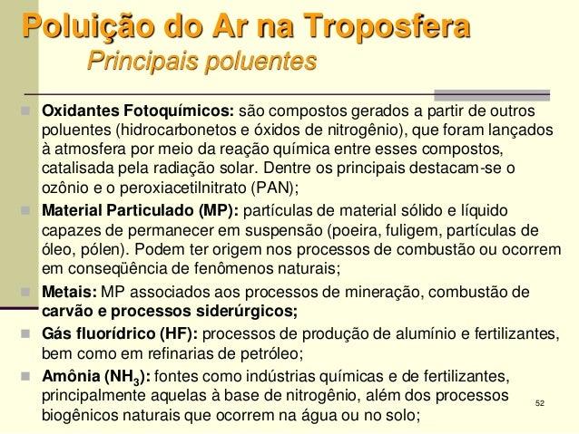 52 Poluição do Ar na Troposfera Principais poluentes  Oxidantes Fotoquímicos: são compostos gerados a partir de outros po...