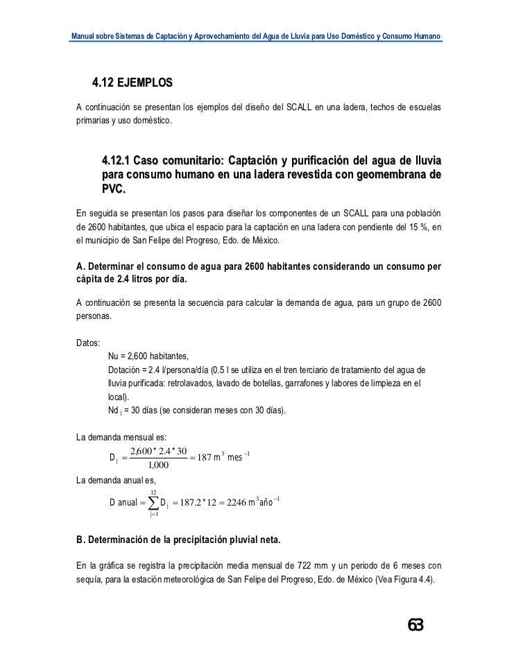 Manual sobre Sistemas de Captación y Aprovechamiento del Agua de Lluvia para Uso Doméstico y Consumo Humano      4.12 EJEM...