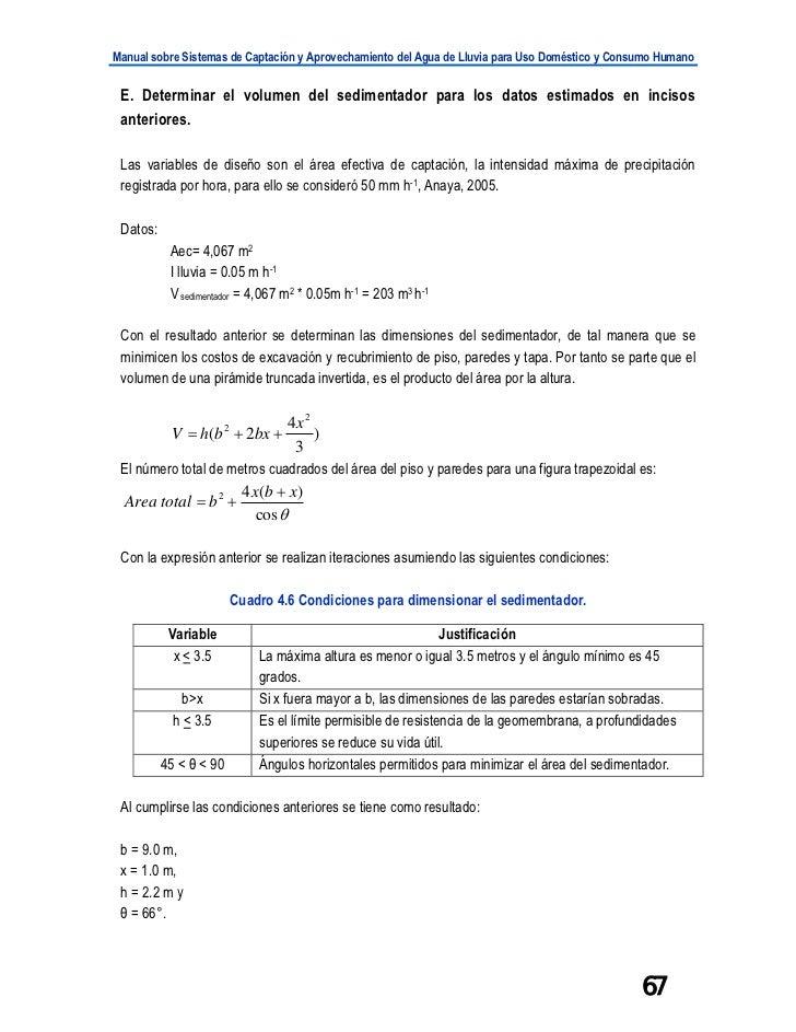 Manual sobre Sistemas de Captación y Aprovechamiento del Agua de Lluvia para Uso Doméstico y Consumo Humano E. Determinar ...