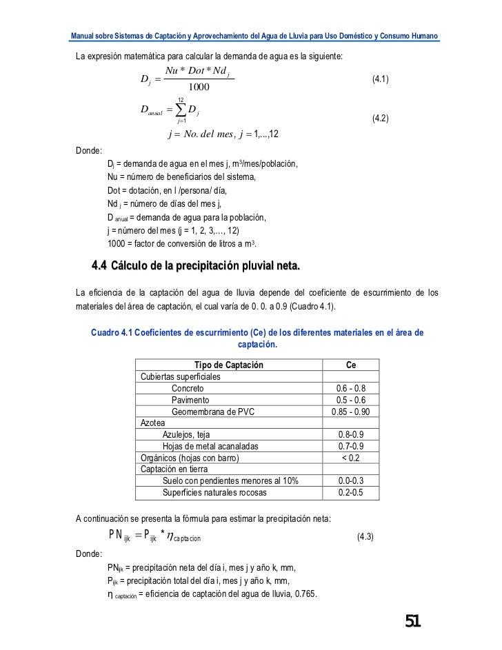 Manual sobre Sistemas de Captación y Aprovechamiento del Agua de Lluvia para Uso Doméstico y Consumo Humano La expresión m...