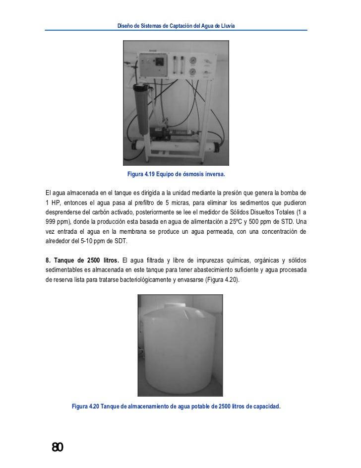 Diseño de Sistemas de Captación del Agua de Lluvia                               Figura 4.19 Equipo de ósmosis inversa.El ...