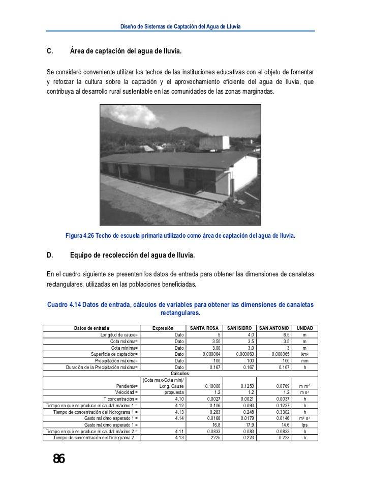 Diseño de Sistemas de Captación del Agua de LluviaC.          Área de captación del agua de lluvia.Se consideró convenient...