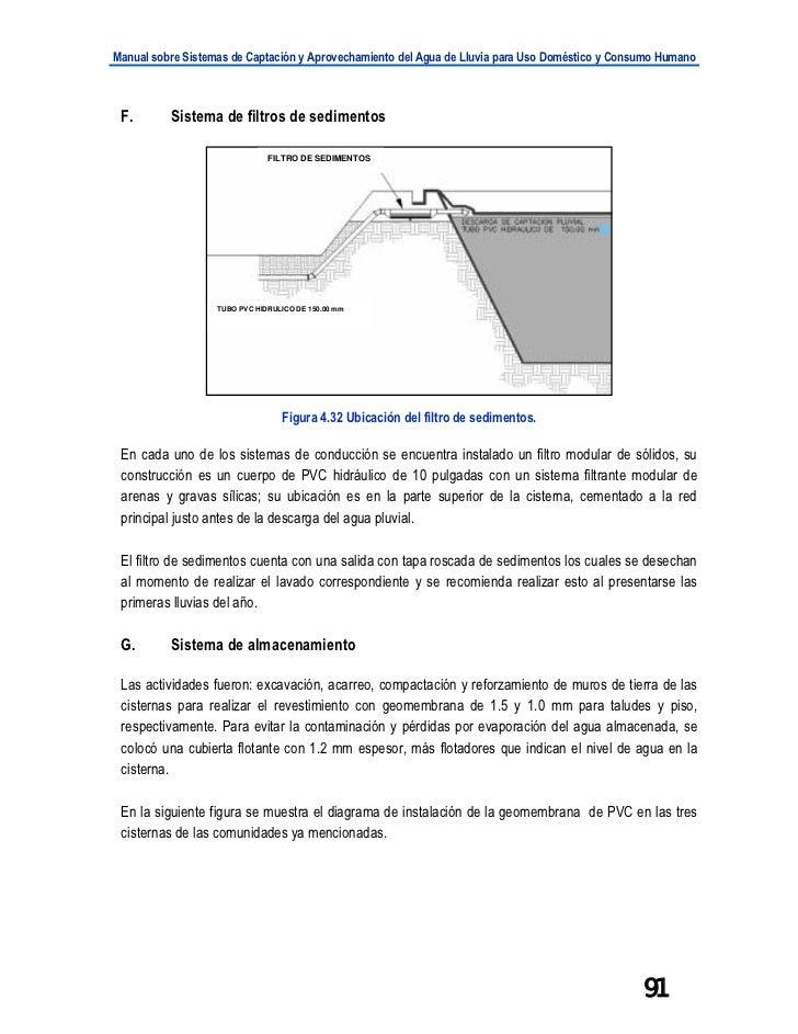Manual sobre Sistemas de Captación y Aprovechamiento del Agua de Lluvia para Uso Doméstico y Consumo Humano F.       Siste...