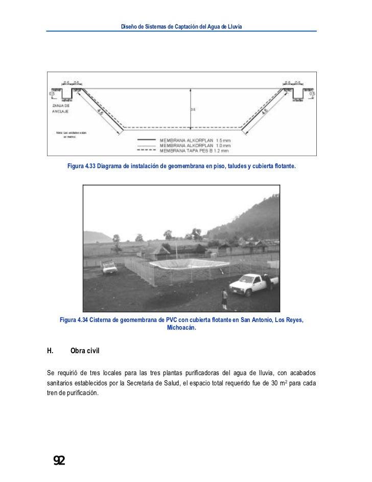 Diseño de Sistemas de Captación del Agua de Lluvia       Figura 4.33 Diagrama de instalación de geomembrana en piso, talud...