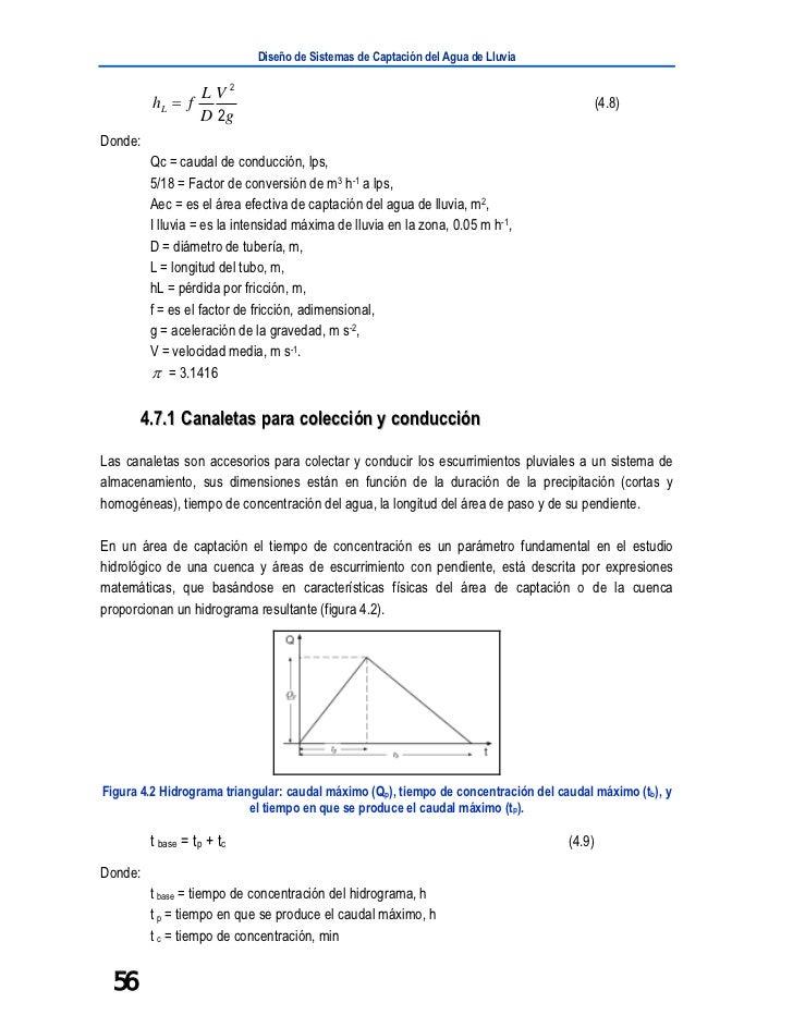 Diseño de Sistemas de Captación del Agua de Lluvia                   L V2         hL = f                                  ...