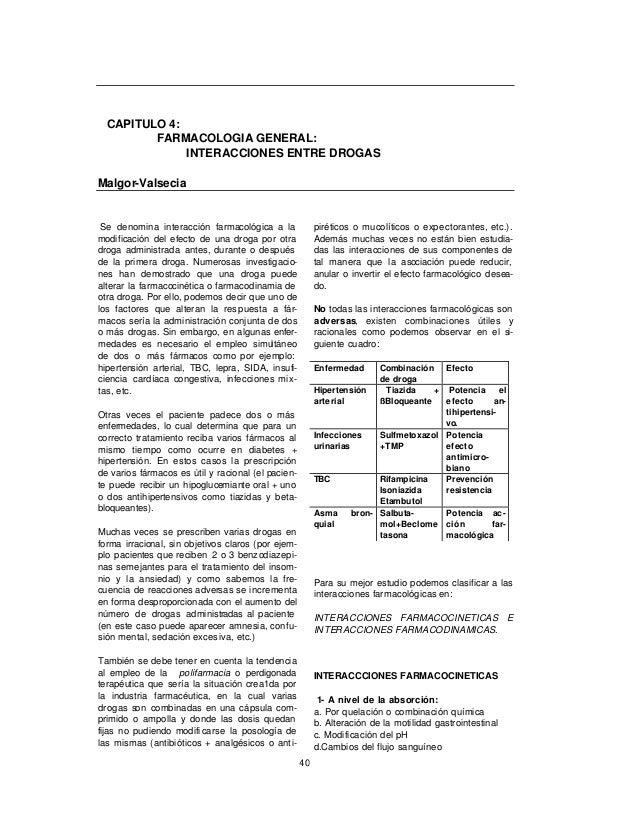 CAPITULO 4:         FARMACOLOGIA GENERAL:              INTERACCIONES ENTRE DROGASMalgor-Valsecia Se denomina interacción f...