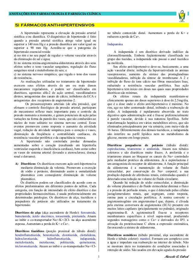 ANOTAÇÕES EM FARMACOLOGIA E FARMÁCIA CLÍNICA Marcelo A. Cabral1 5) FÁRMACOS ANTI-HIPERTENSIVOS A hipertensão representa a ...