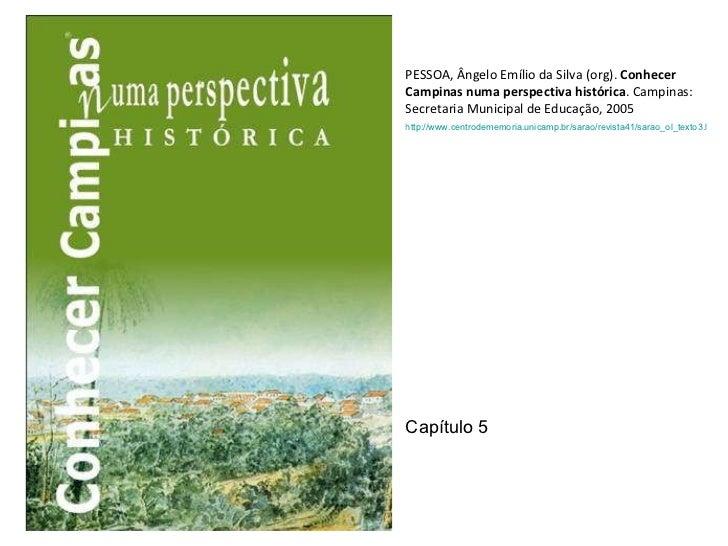 PESSOA, Ângelo Emílio da Silva (org). Conhecer Campinas numa perspectiva histórica . Campinas: Secretaria Municipal de Ed...