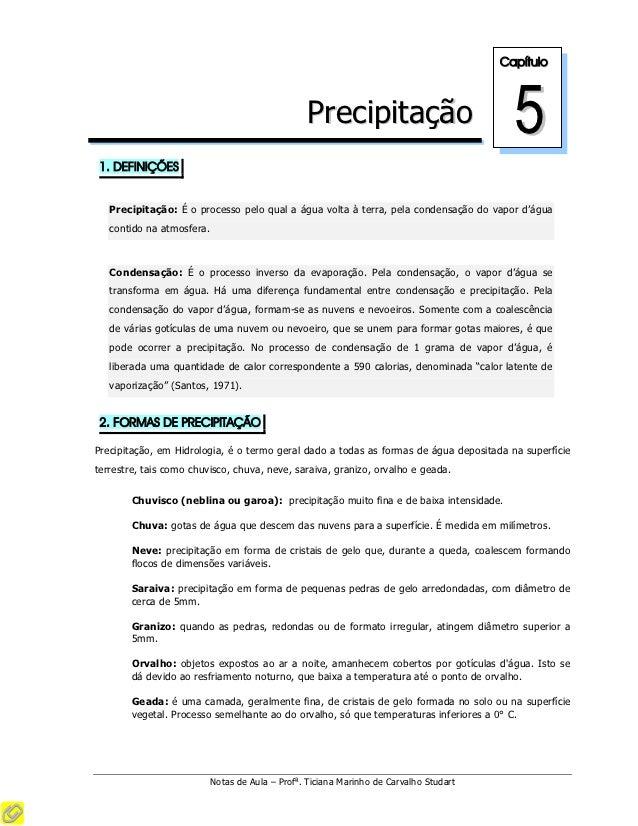 Capítulo                                                 Precipitação                             5 1. DEFINIÇÕES   Precip...