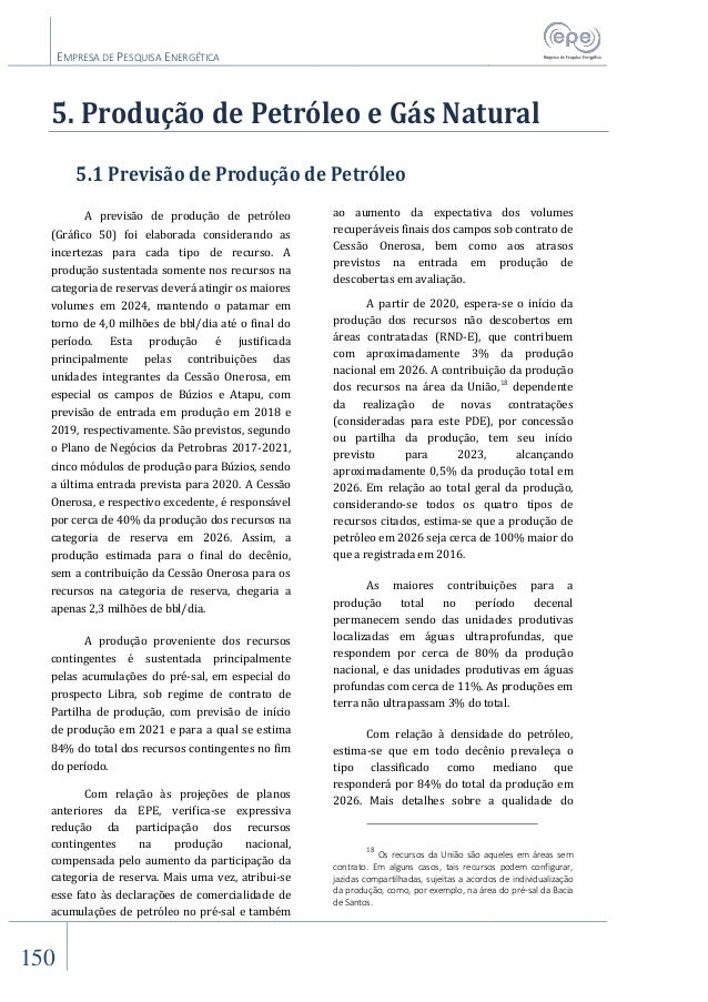 EMPRESA DE PESQUISA ENERGÉTICA 150 5. Produção de Petróleo e Gás Natural 5.1 Previsão de Produção de Petróleo A previsão d...