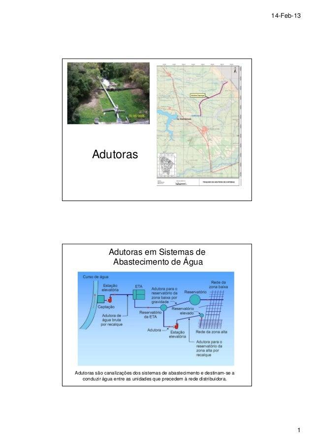 14-Feb-13  1  Adutoras  Adutoras em Sistemas de  Abastecimento de Água  Adutoras são canalizações dos sistemas de abasteci...