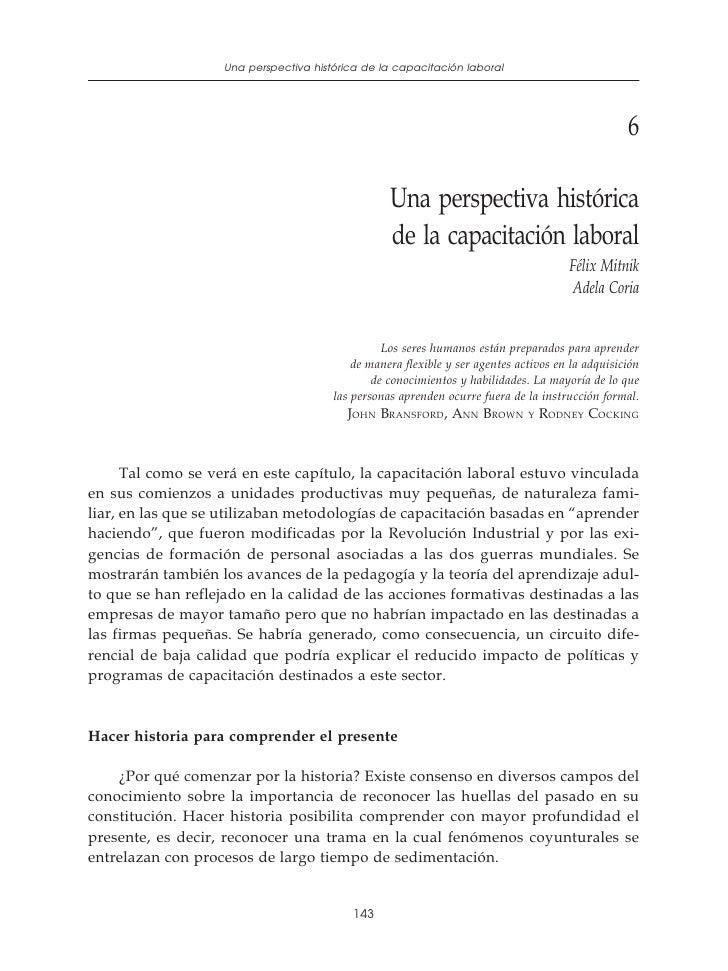 Una perspectiva histórica de la capacitación laboral               Políticas y programas de capacitación para pequeñas emp...