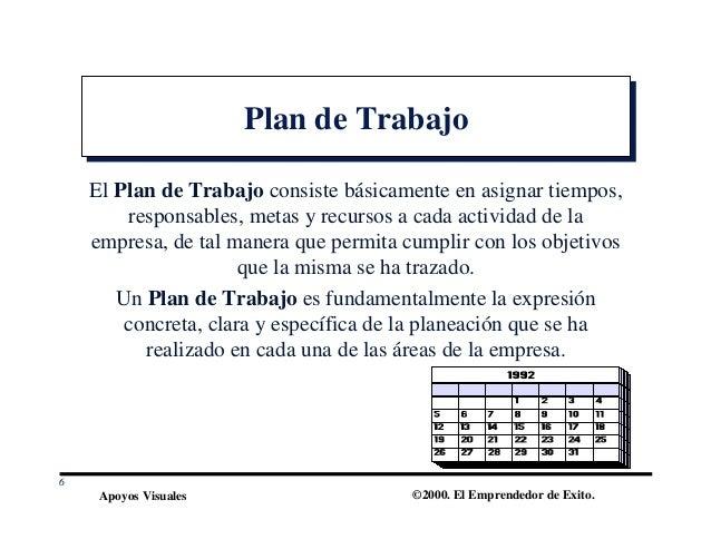 Apoyos Visuales ©2000. El Emprendedor de Exito. Plan de TrabajoPlan de Trabajo El Plan de Trabajo consiste básicamente en ...