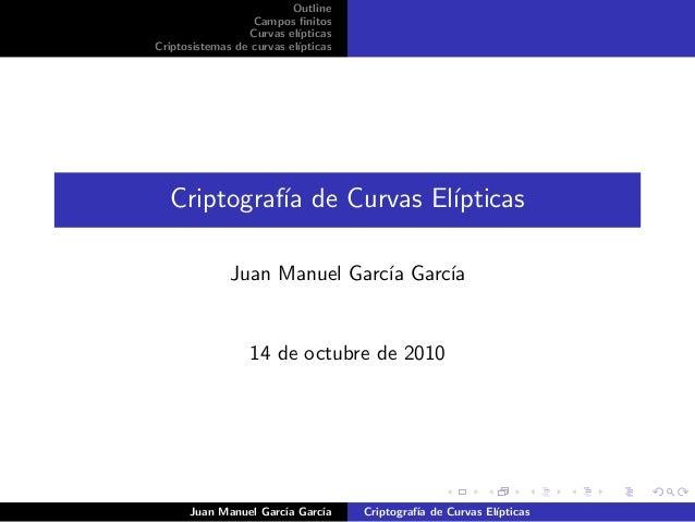 Outline Campos finitos Curvas el´ıpticas Criptosistemas de curvas el´ıpticas Criptograf´ıa de Curvas El´ıpticas Juan Manuel...