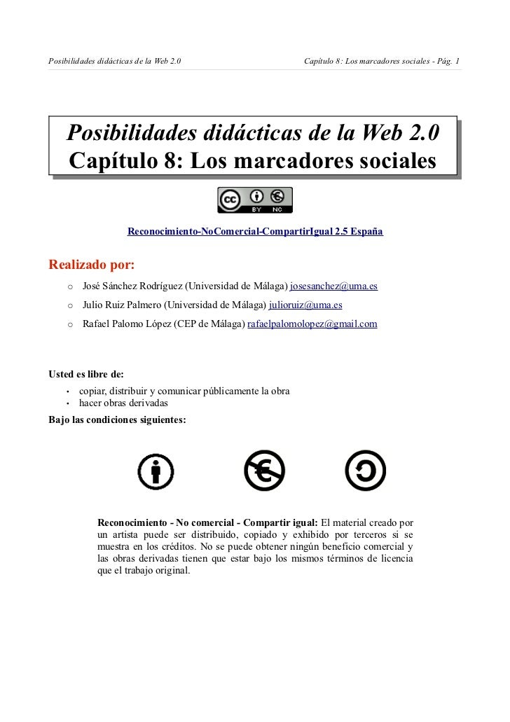Posibilidades didácticas de la Web 2.0                         Capítulo 8: Los marcadores sociales - Pág. 1     Posibilida...