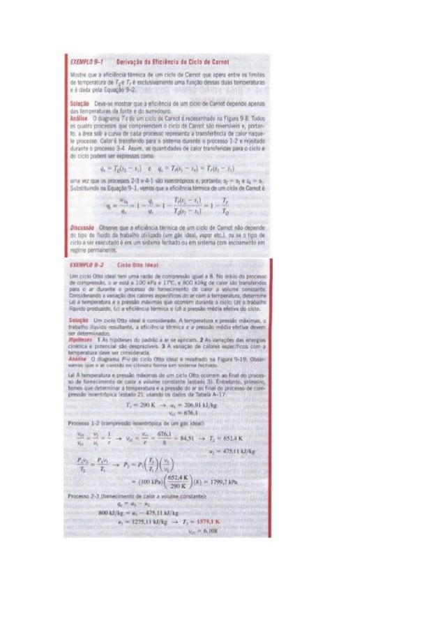 EXEMPLO 9-1 Derivaçio d¡ Eficiência do cido de carnal  Mostre que a etrcrencia térmica de um ciclo de Carnot que opera ent...