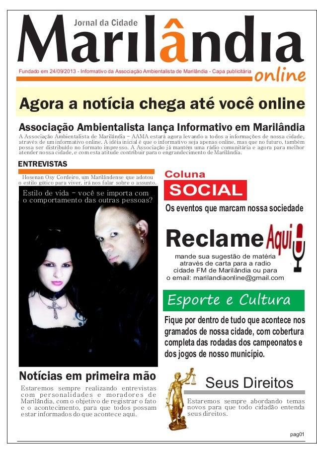 Marilândiaonline Jornal da Cidade Fundado em 24/09/2013 - Informativo da Associação Ambientalista de Marilândia - Capa pub...
