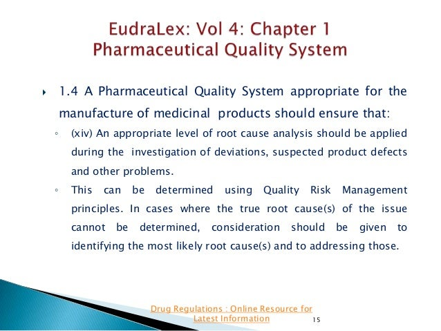 1.4 A Pharmaceutical Quality System appropriate for the    manufacture of medicinal products should ensure that: ◦  (xiv)...