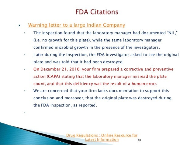"""Warning letter to a large Indian Company    ◦  The inspection found that the laboratory manager had documented """"NIL,"""" (i...."""