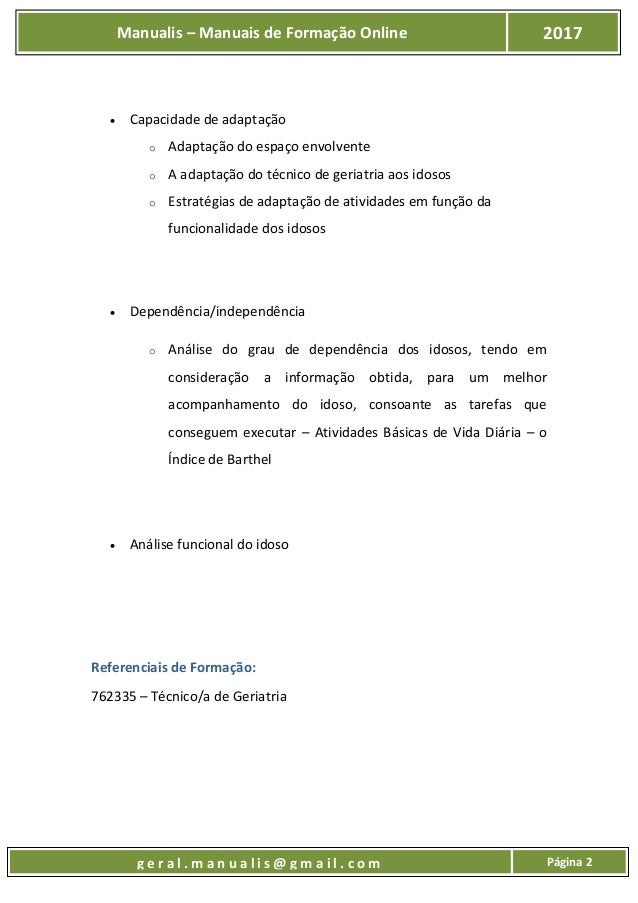 UFCD 8921 - Autonomia, independência e funcionalidade do idoso Slide 3