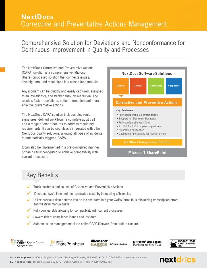 NextDocs         Corrective and Preventative Actions Management         Comprehensive Solution for Deviations and Nonconfo...