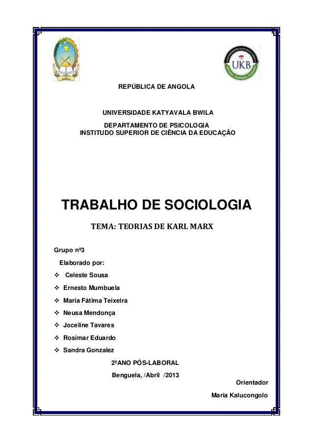 REPÚBLICA DE ANGOLA UNIVERSIDADE KATYAVALA BWILA DEPARTAMENTO DE PSICOLOGIA INSTITUDO SUPERIOR DE CIÊNCIA DA EDUCAÇÃO TRAB...