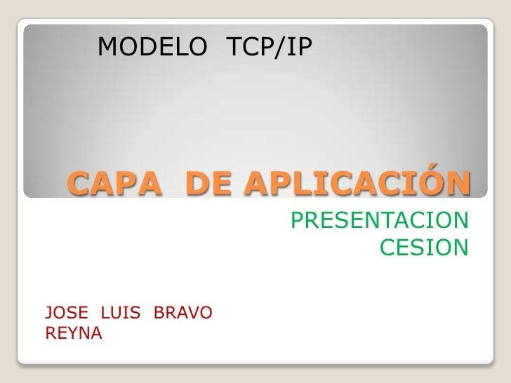 CAPA  DE APLICACIÓN<br />PRESENTACION<br />CESION<br />MODELO  TCP/IP<br />JOSE  LUIS  BRAVO  REYNA<br />