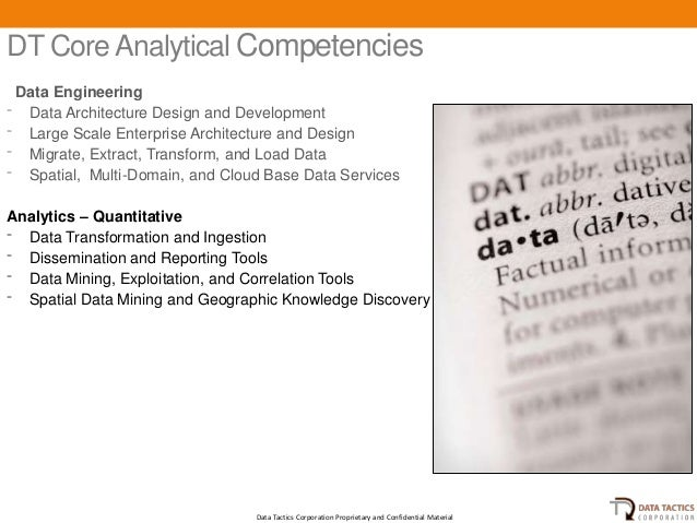 DT Core Analytical Competencies Data Engineering⁻ Data Architecture Design and Development⁻ Large Scale Enterprise Archite...