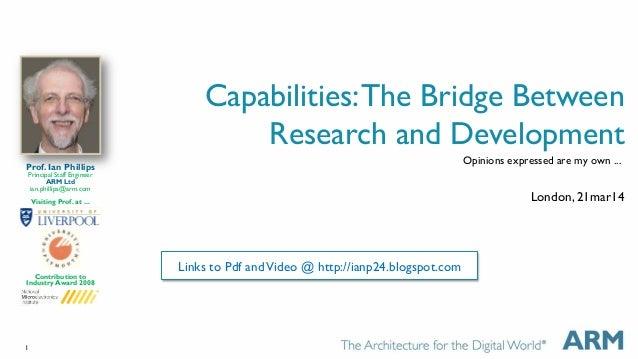 1 Capabilities:The Bridge Between Research and Development London, 21mar14 Prof. Ian Phillips Principal Staff Engineer ARM...