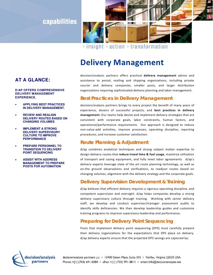 DeliveryManagement                               decision/analysis partners offers practical delivery management a...