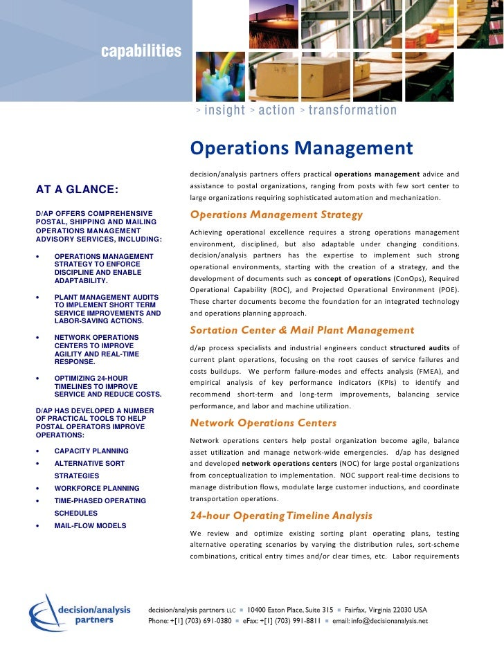 Operations Management                                decision/analysis partners offers practical operations management adv...