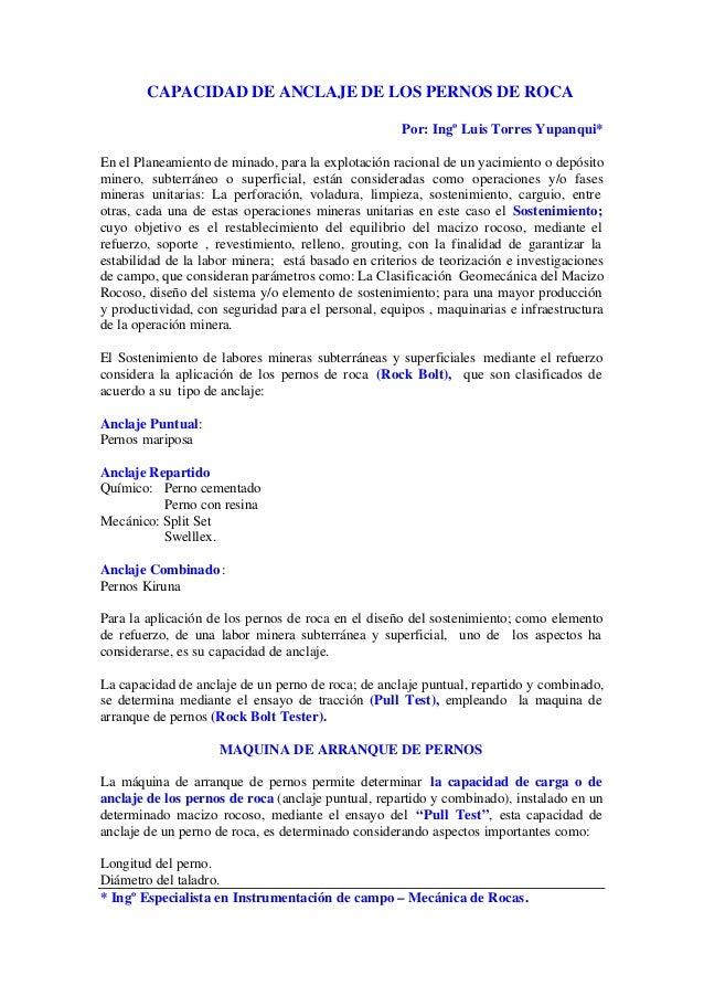 CAPACIDAD DE ANCLAJE DE LOS PERNOS DE ROCA                                                     Por: Ingº Luis Torres Yupan...
