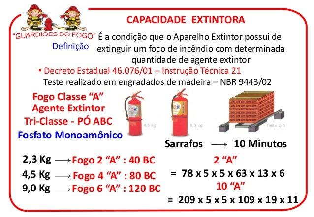 CAPACIDADE EXTINTORA                   É a condição que o Aparelho Extintor possui de       Definição extinguir um foco de...