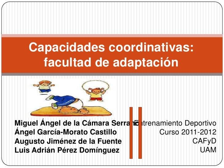 Capacidades coordinativas:     facultad de adaptaciónMiguel Ángel de la Cámara Serrano                                Entr...