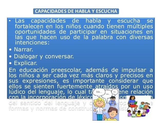 CAPACIDADES DE HABLA Y ESCUCHA • Las capacidades de habla y escucha se fortalecen en los niños cuando tienen múltiples opo...